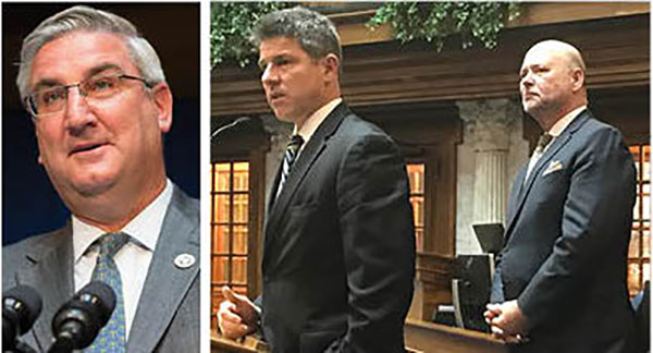 Gov. Eric Holcomb, Speaker Brian Bosma and Senate President Pro Tem Rod Bray hold all the cards for redistricting reform prior to the 2021 maps, but only Bosma seems open to an independent commission. (HPI Photos)