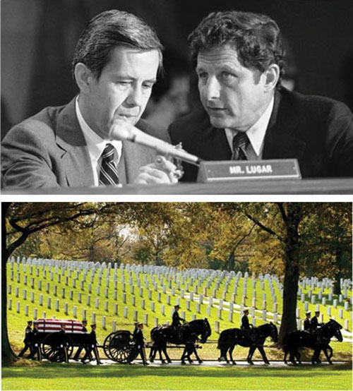 The late U.S. Sens. Richard Lugar (left) and Birch Bayh will be laid to rest at Arlington National Cemetery because of their military backgrounds.