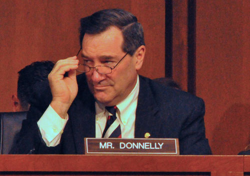 "U.S. Sen. Joe Donnelly was one of seven Republicans, six Democrats and an independent who banded together to develop a ""Plan B"" budget framework to prevent default. (HPI Photo by Chris Sautter)"