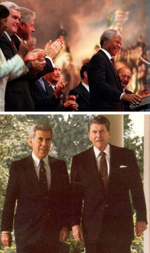 South African President Nelson Mandela at the U.S. Capitol (top) and Sen. Lugar with President Reagan.