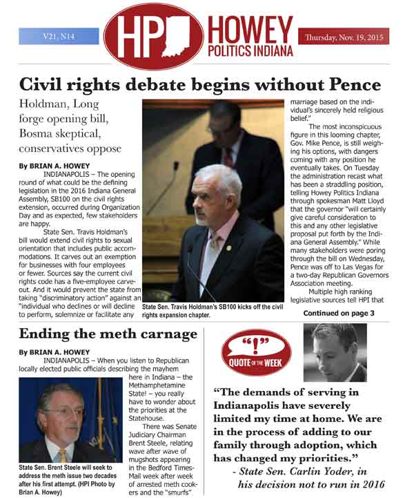 HPI Analysis: Civil rights debate begins without Gov. Pence